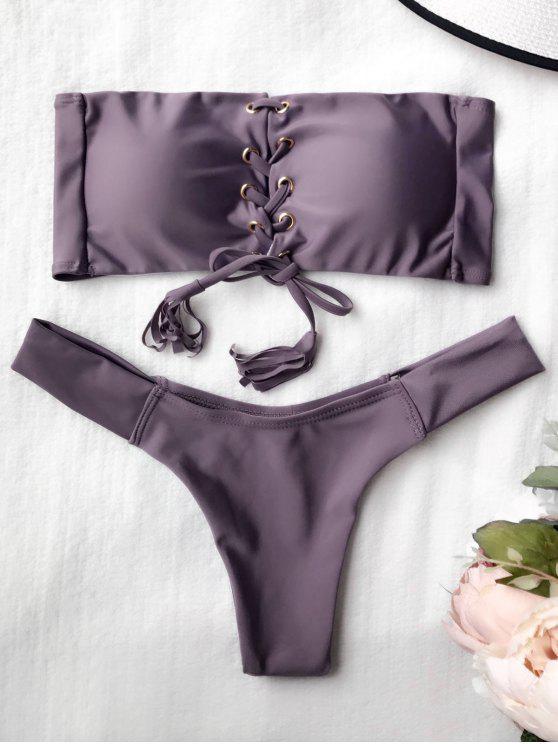 Juego de bikini de encaje con banderas - Gris Púrpura L