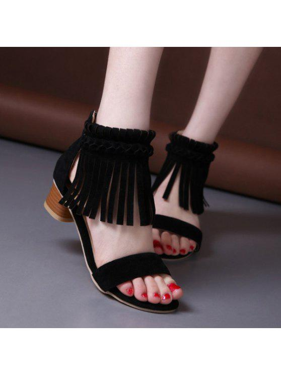 latest Weaving Zipper Fringe Sandals - BLACK 41