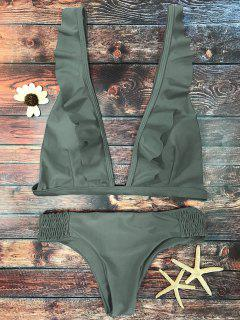 Ruffles Plunge Bathing Suit - Army Green S