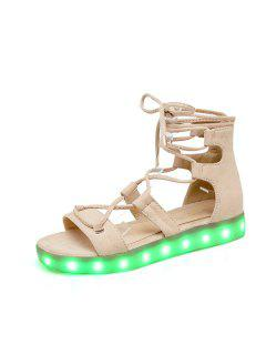 Led Luminous Flat Heel Sandals - Apricot 39