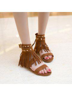 Rivets Fringe Flat Sandals - Brown 41