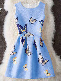 Papillon Imprimer Embossed Mini Robe Sans Manches - Bleu Xl