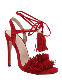 Fringe Lace-Up Stiletto Heel Sandals - Red 40