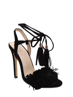 Fringe Lace-Up Stiletto Heel Sandals - Black 39
