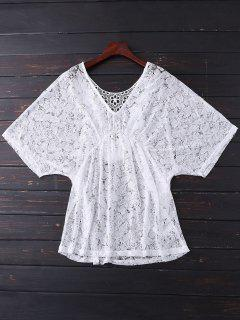 Batwing Lace Cover Up - White