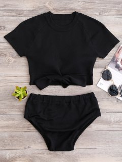 Knitted Bikini Crop Top And Bottoms - Black