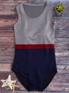Tricolor Rembourrée Knit One Piece Swimsuit - Gris Et Bleu
