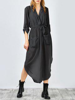 3/4 Sleeves Side Slit Asymmetrical Wrap Dress - Black L