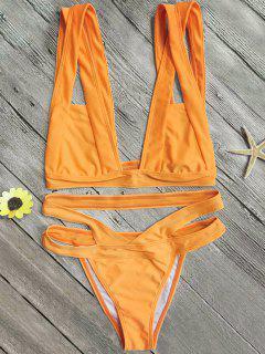 Plunge Bathing Suit For Big Bust - Orange S