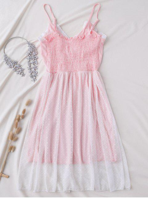 online Padded Layered Mesh Babydoll - PINK L Mobile