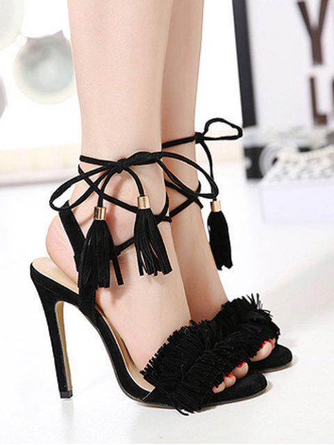 chic Fringe Lace-Up Stiletto Heel Sandals -   Mobile