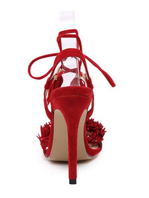 women Fringe Lace-Up Stiletto Heel Sandals -   Mobile