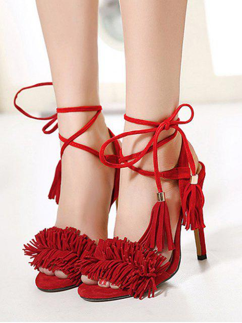 womens Fringe Lace-Up Stiletto Heel Sandals -   Mobile
