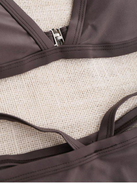 fancy Padded V Strap Thong Bikini Set - COFFEE M Mobile