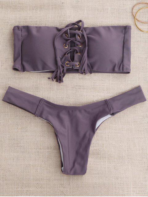 sale Lace Up Bandeau Bikini Set - SMASHING S Mobile