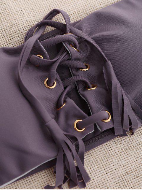 affordable Lace Up Bandeau Bikini Set - SMASHING M Mobile