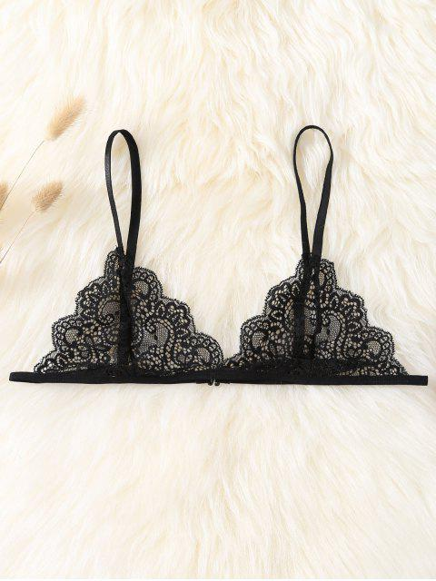 outfits Plunge Scalloped Lace Bra - BLACK S Mobile
