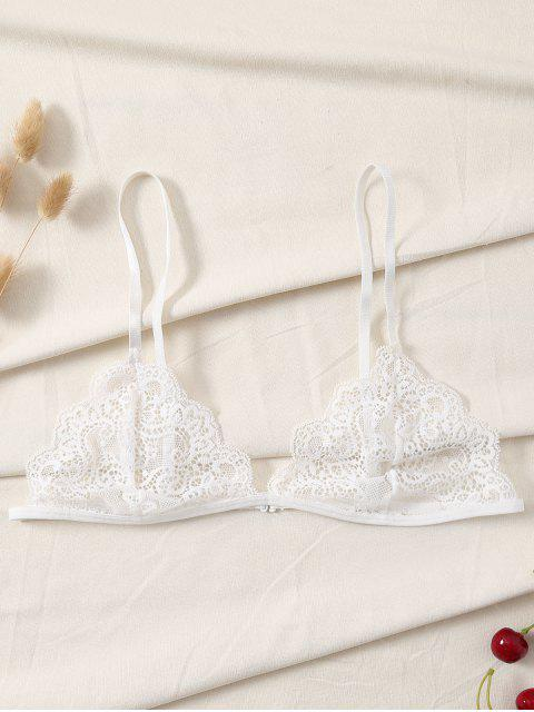 fashion Plunge Scalloped Lace Bra - WHITE S Mobile