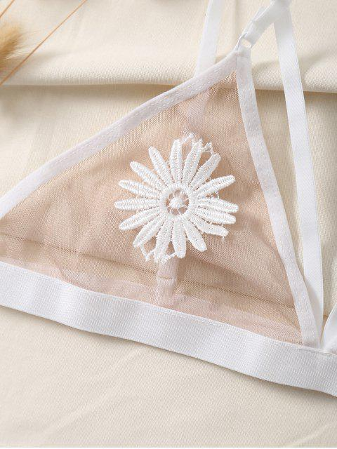 affordable Mesh Floral Applique Unlined Bra - WHITE M Mobile