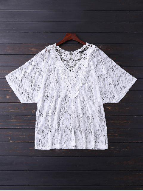 V Neck Lace Cover Up - Blanc TAILLE MOYENNE Mobile
