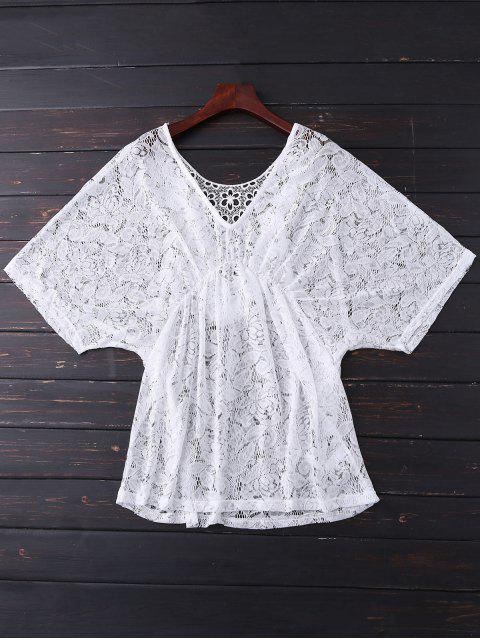 latest Batwing Lace Cover Up - WHITE ONE SIZE Mobile