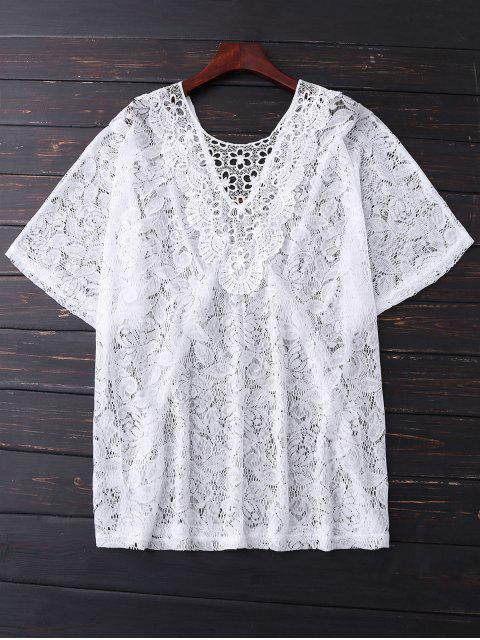 Batwing Lace Cover Up - Blanc TAILLE MOYENNE Mobile