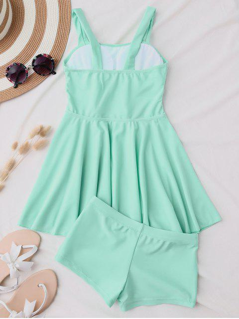 new Cut Out Skirted Tankini Top and Shorts - BLUE GREEN M Mobile