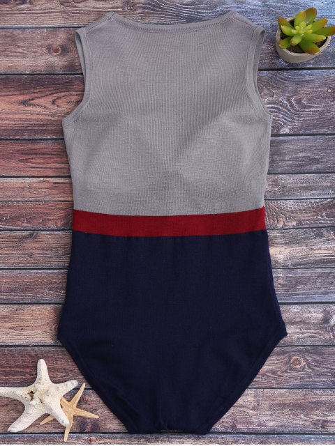 ladies Tricolor Padded Knit One Piece Swimsuit - GREY AND BLUE ONE SIZE Mobile