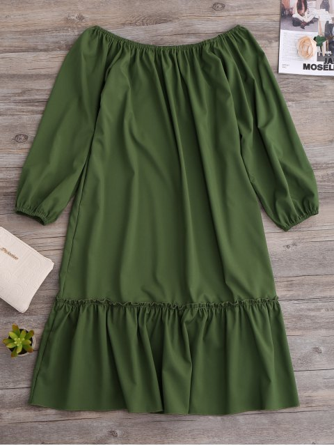latest Flared Off The Shoulder Dress - GREEN L Mobile