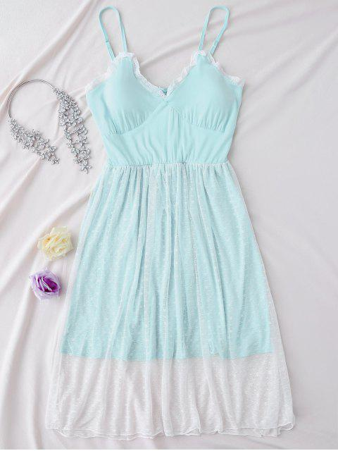 unique Padded Layered Mesh Babydoll - LIGHT BLUE L Mobile