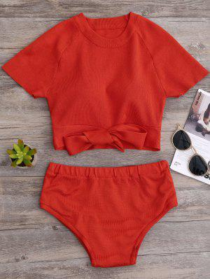 Knitted Bikini Crop Top And Bottoms - Jacinth