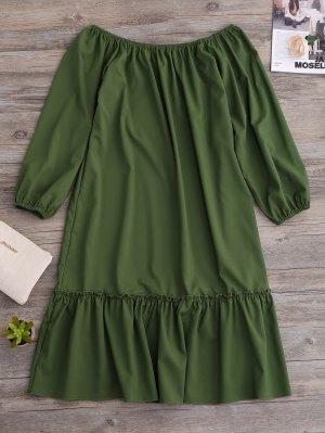 Vestido Fuera Del Hombro Con Vuelo - Verde S