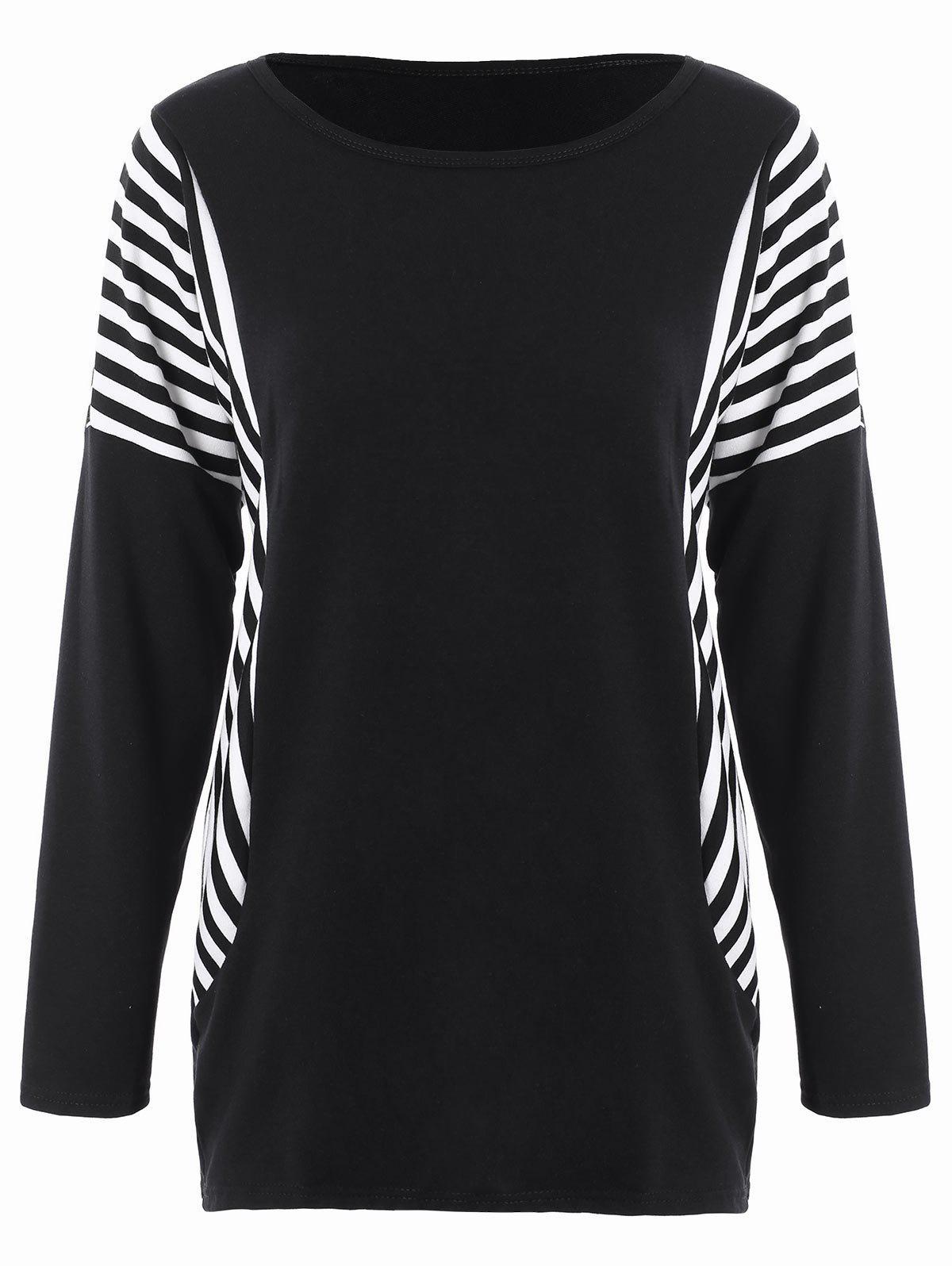 Dolman Sleeve Stripe Plus Size Top 210231501