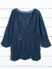 Plunging Neck Hollow Out Blouse - Cadetblue