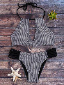 Stripe Keyhole Halter Bathing Suit - White And Black S