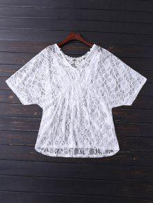 V Neck Lace Cover Up - White