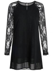 فستان دانتيل شيفون عالية انخفاض - أسود L