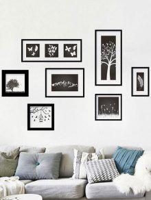 دي النباتات الطبيعية ديكور المنزل الجدار ملصق - أسود 60 * 90cm