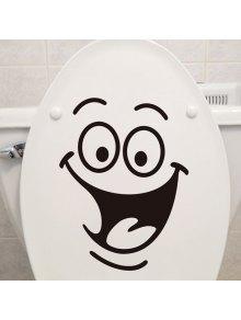 ابتسامة الوجه نمط مرحاض جدار الفن ملصق مخصص - أسود