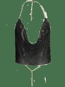 Draped Metal Crop Top For Party - Black Xl