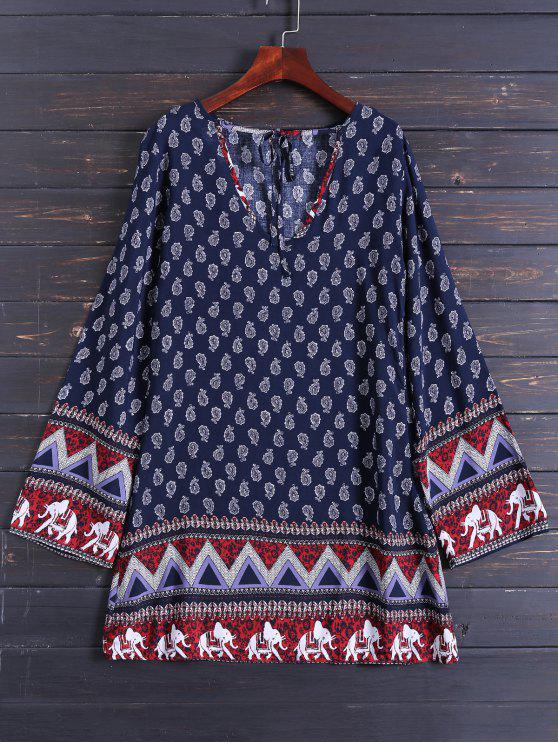 فستان طويلة الأكمام متعرج طباعة - الأرجواني الأزرق M