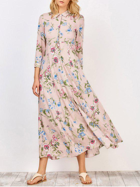 latest Side Pockets Floral Maxi Tea Dress - PINK M