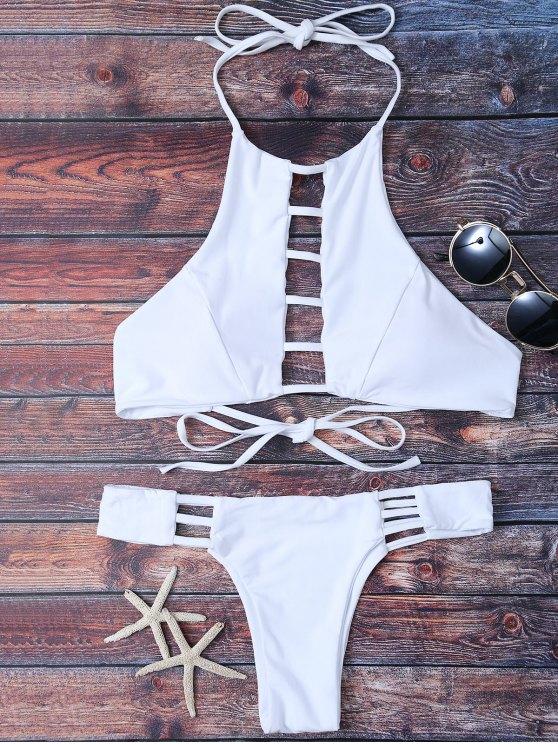 sale Padded Ladder Cut Bikini Set - WHITE S