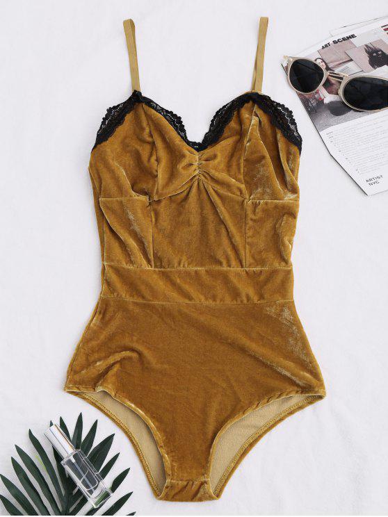 trendy Lace Panel Velvet Bodysuit - COFFEE M