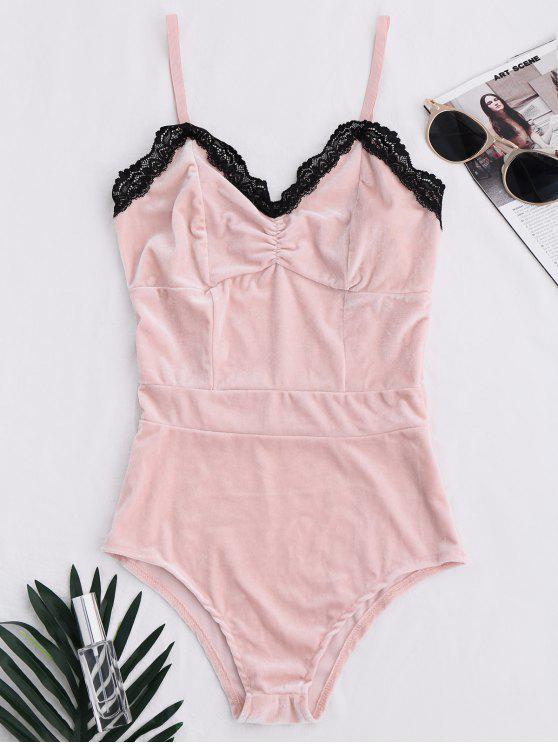 chic Lace Panel Velvet Bodysuit - PINK L