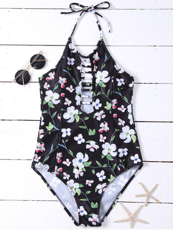 Ahueca hacia fuera floral del traje de baño - Negro M