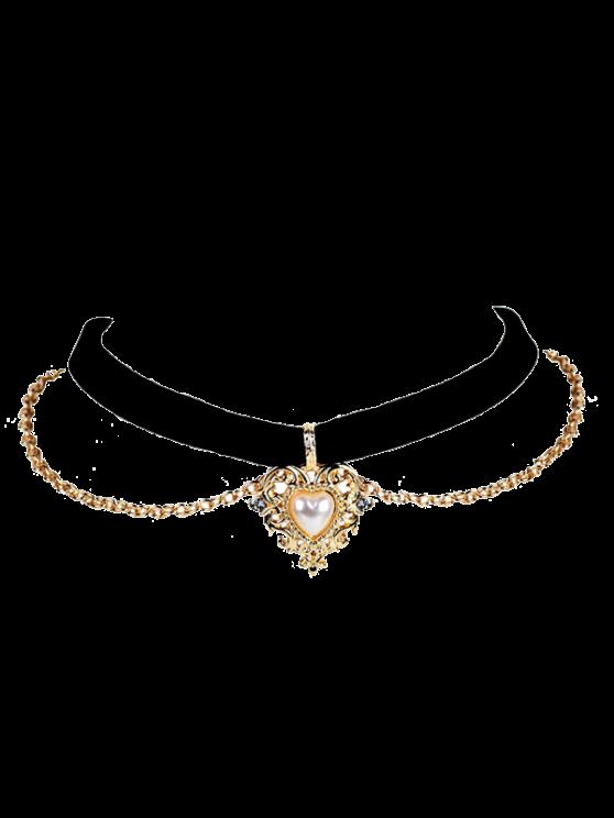 new Faux Pearl Love Heart Choker Necklace - BLACK