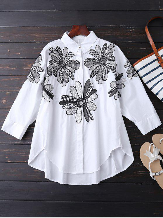outfits Boyfriend Floral Embroidered Shirt - WHITE XL