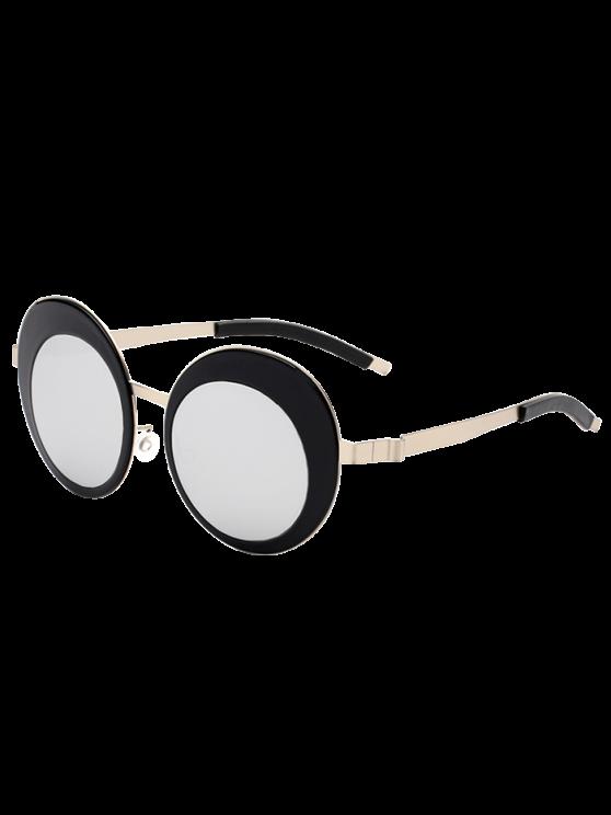 Oval Panel rodada Lens metálicas óculos de sol espelhados - Prata