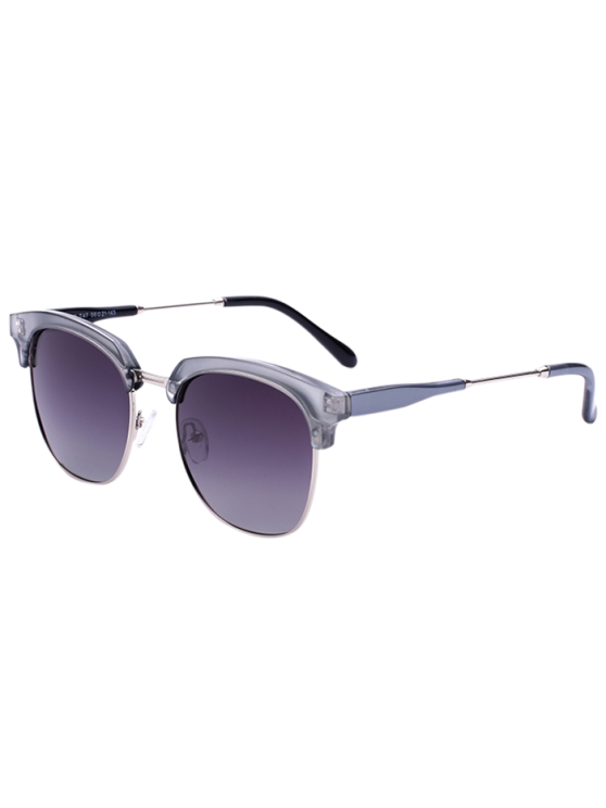 fancy Metallic Panel Golf Sunglasses - SILVER FRAME+DARK BROWN LENS